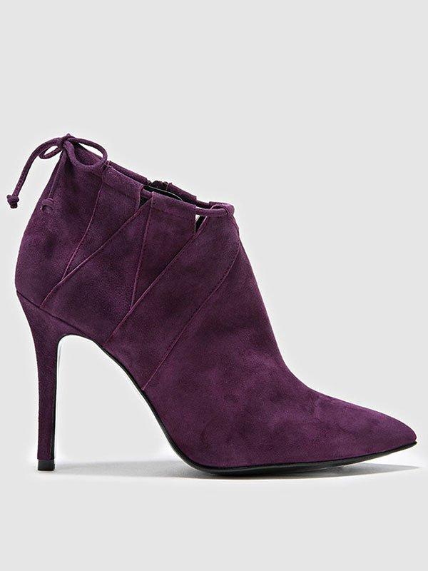 Botín en piel violeta