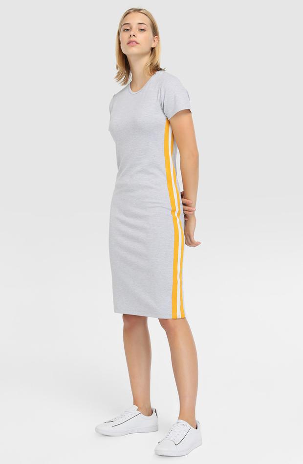 Vestido gris con banda lateral de Green Coast: prenda invierno vestidos