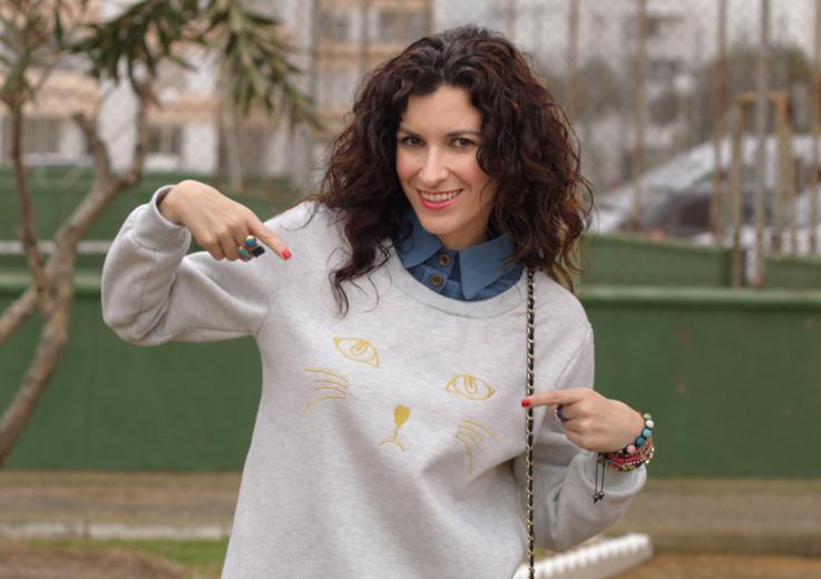 Look con mi Sudadera Gato - Look Cat Sweatshirt-363-stella