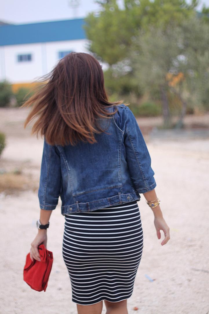 34 Weeks Pregant Look: Stripes Skirt-34-stella