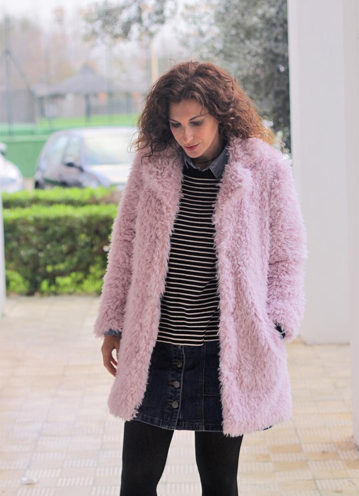 Fur Coat & Denim Skirt-2886-stella