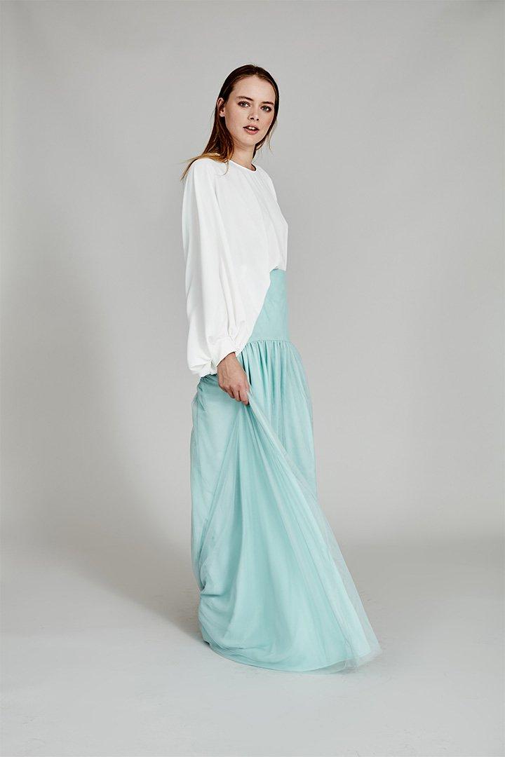 Coosy verano 2018 falda de tul turquesa