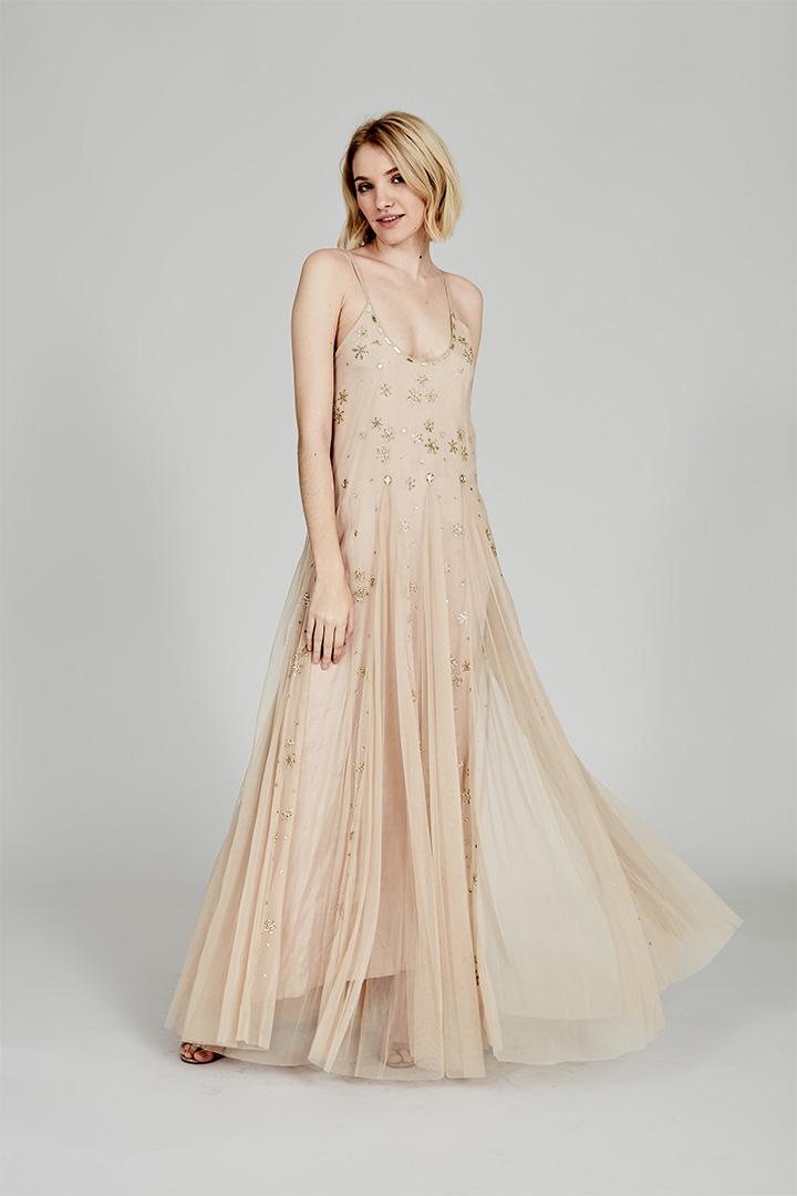 Coosy verano 2018 vestido beige