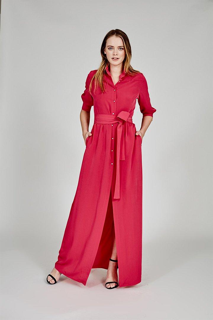 Coosy verano 2018 vestido camisero rojo