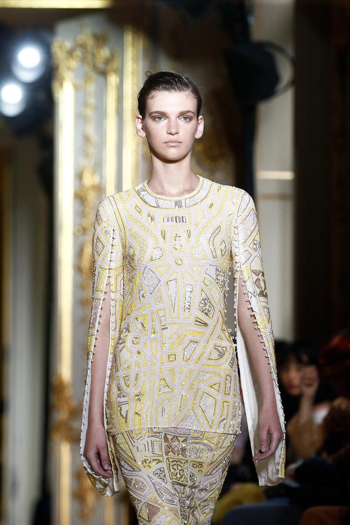 Vestido blanco y amarillo de J.Mendel