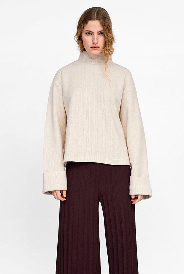 Jersey básico blanco de Zara