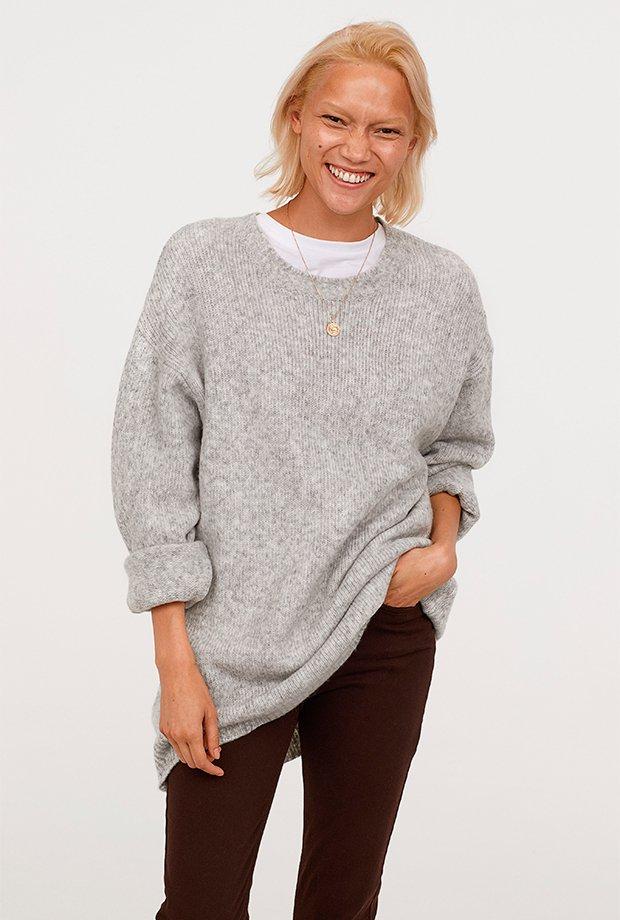Jersey básico gris suave