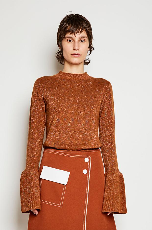 Jersey marrón de lurex con mangas de volantes de Kling