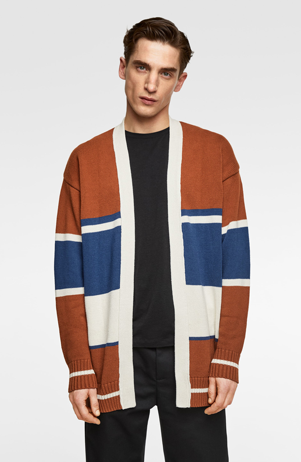 Cárdigan color block de Zara: tendencias masculinas 2019