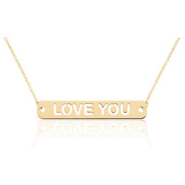 Joyas para San Valentín: colgante de oro con texto