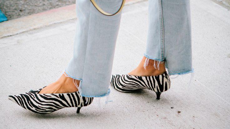 Kitten heels de estampado de cebra