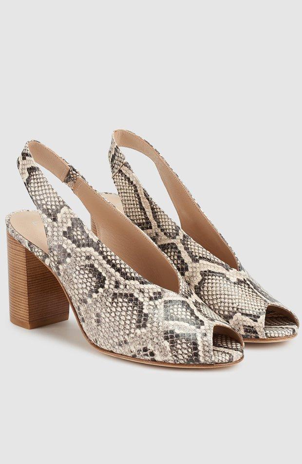 Sandalias de tacón de piel con estampado de serpiente de Latouche: zapatos primavera