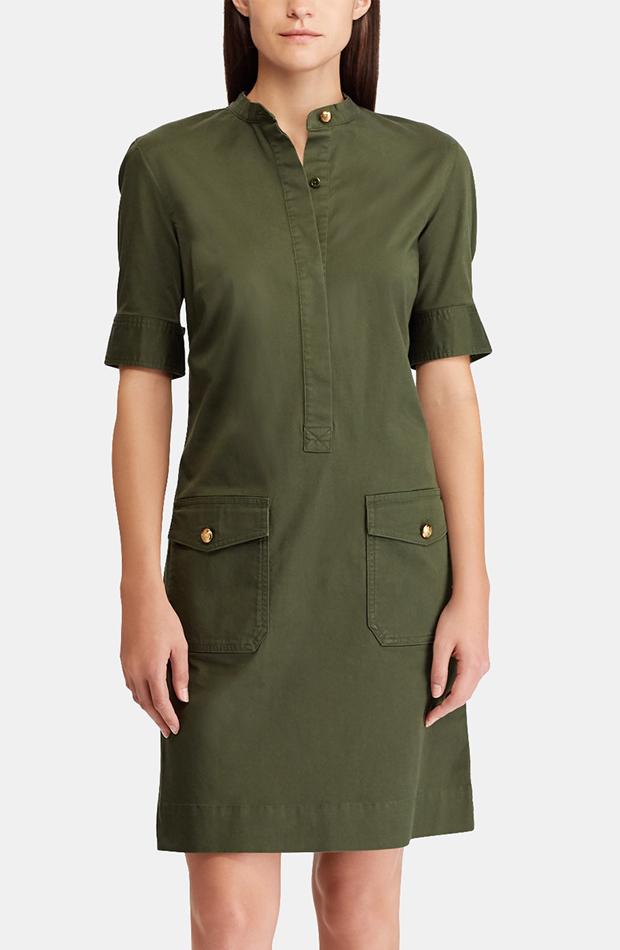 Vestido corto en color kaki de Lauren Ralph Lauren: prenda invierno vestidos