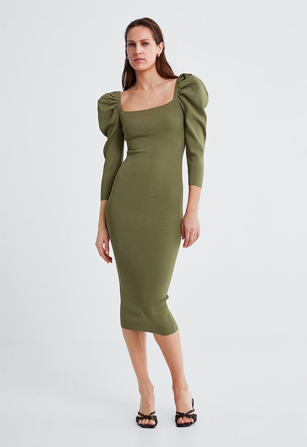 Vestido verde con mangas farol de Zara