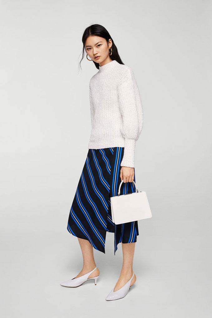 Falda azul con estampado de rayas