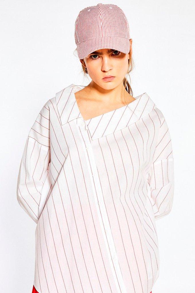 Camisa asimétrica con estampado de rayas