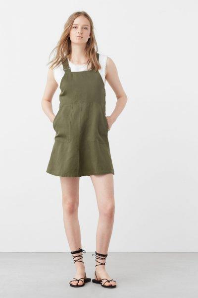 Vestido verde raso mango