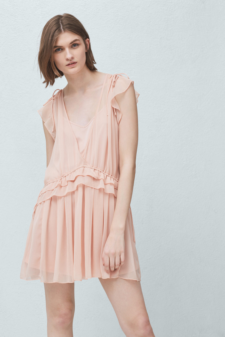 Vestido largo rosa palo mango