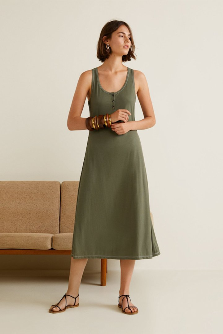 Vestido caqui de Mango verano 2018