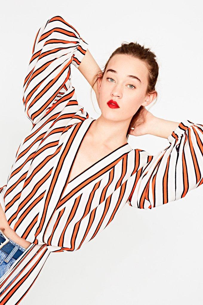 Camisa con estampado de rayas naranjas