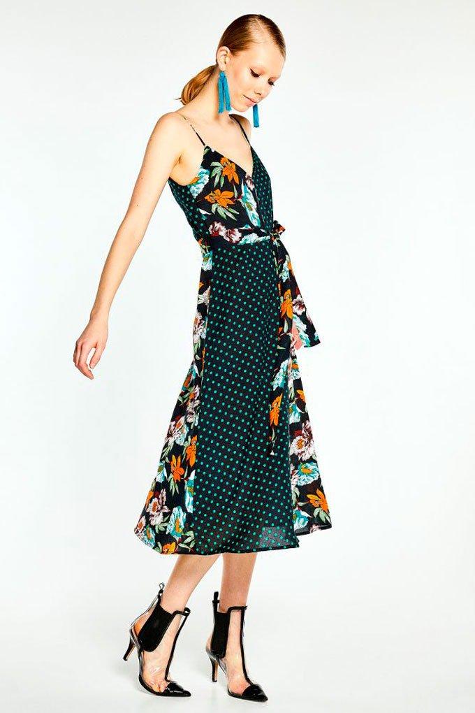 Vestido de estampado de lunares y flores