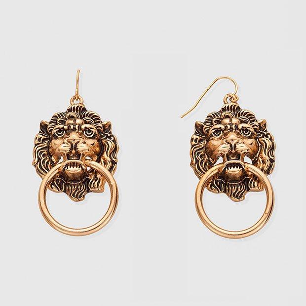 Maxi pendientes con forma de león
