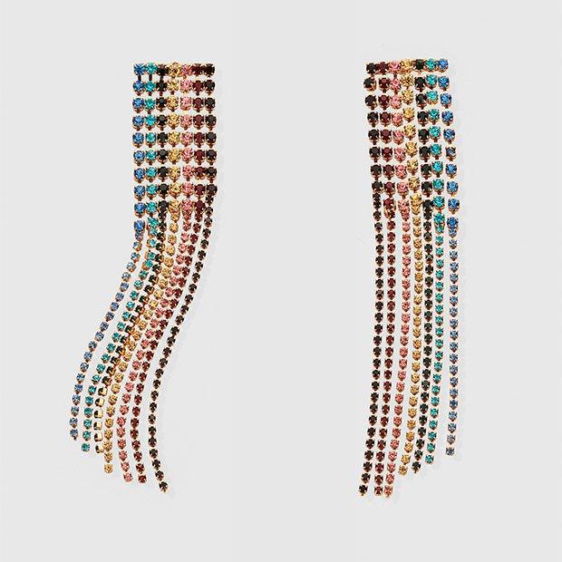 Maxi pendientes con flecos multicolor
