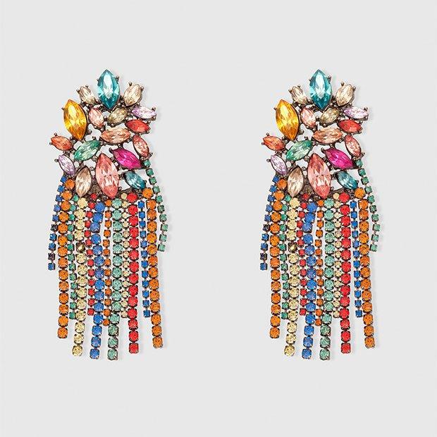 Maxi pendientes con strass multicolor