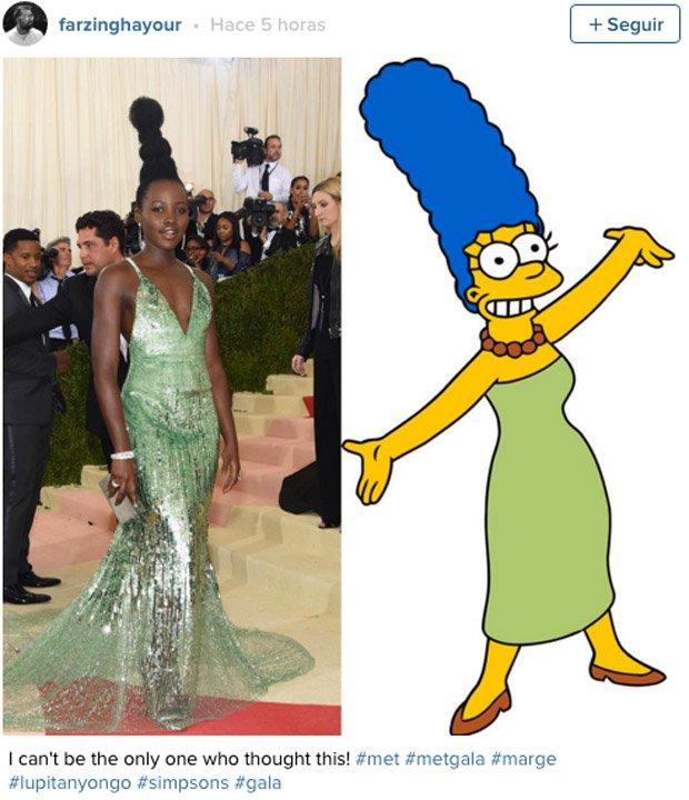 """Con ese """"moño"""" y ese vestido verde era difícil no comparar a Lupita con Marge Simpson"""