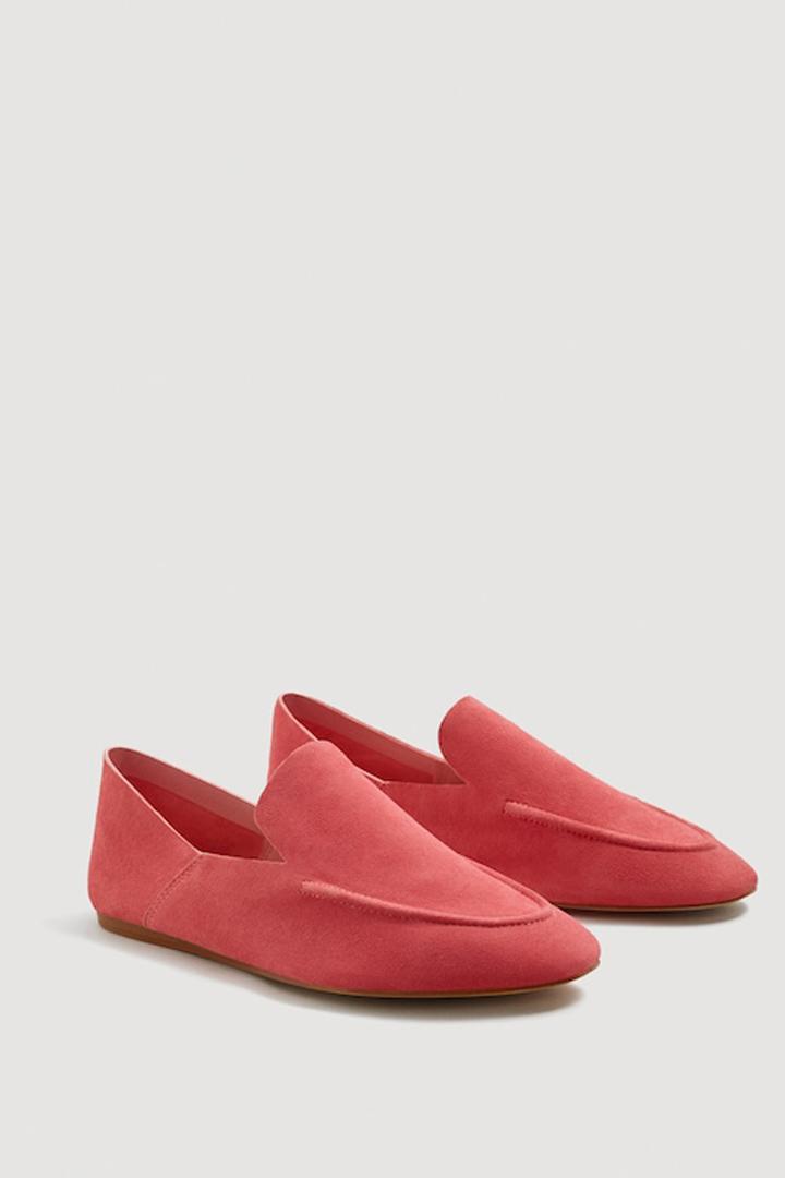 mocasín piel rosa mango ropa
