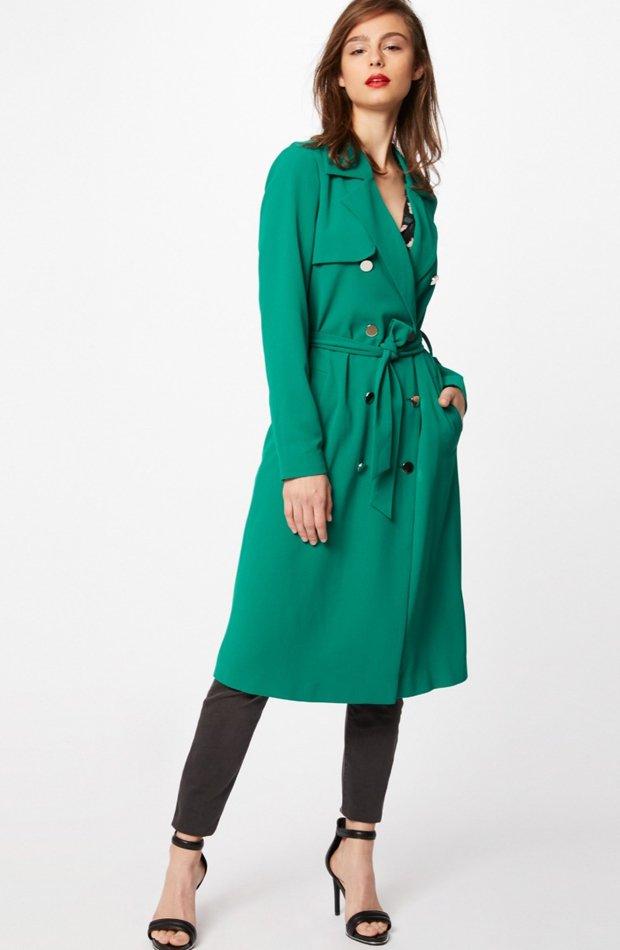 Gabardina verde con doble botonadura de Morgan: gabardinas it girl