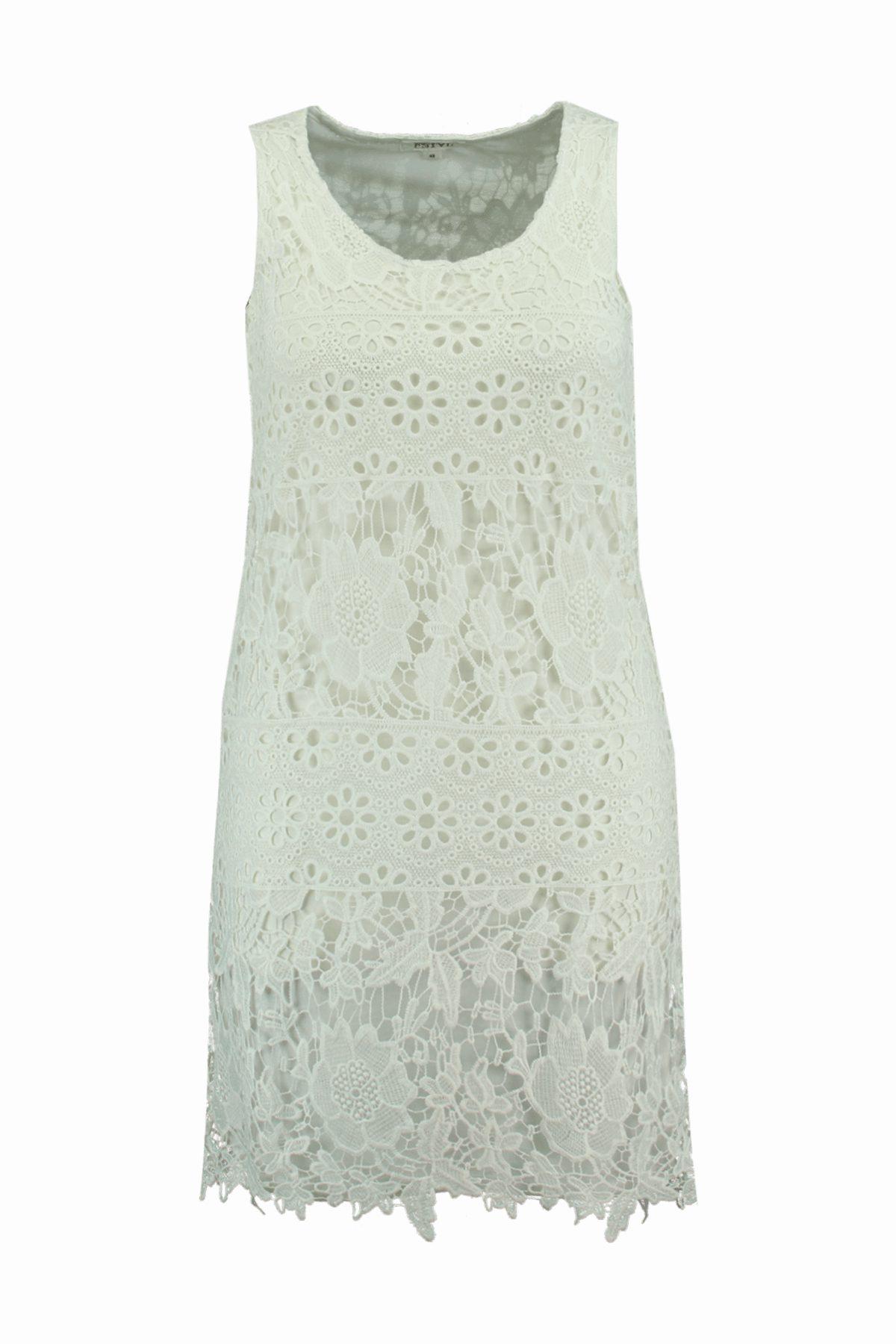 Vestido blanco de ganchillo de la colección FSTVL de Ms Moda
