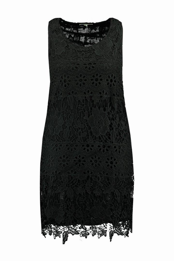 Vestido negro de ganchillo de la colección FSTVL de Ms Moda
