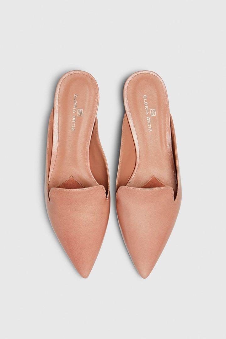 Mules rosa claro de piel de Gloria Ortíz