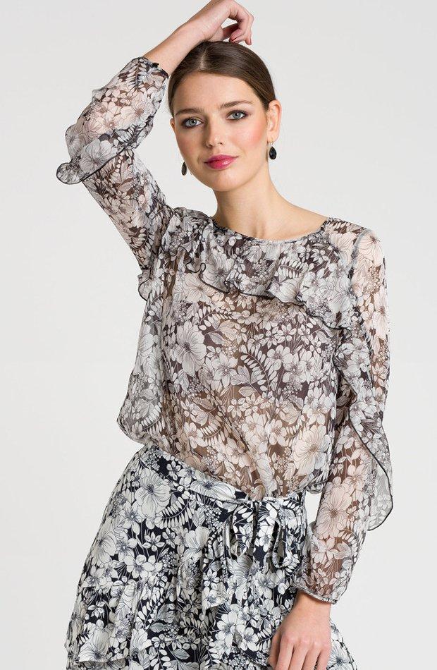 Blusa de manga larga con estampado de flores de Naf Naf: blusas día y noche