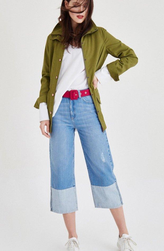 Chaqueta verde con dos bolsillos de OXXO: chaqueta temporada 2019
