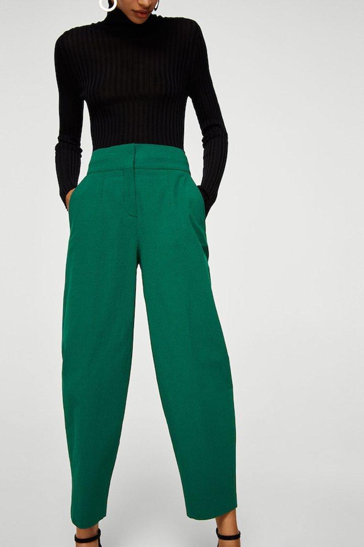 pantalón crop algodón mango ropa