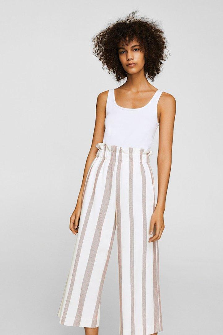 pantalón crop rayas mango ropa
