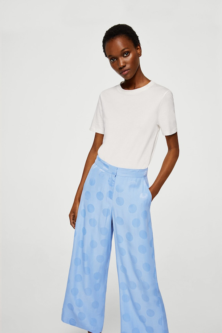 pantalón culotte lunares mango ropa