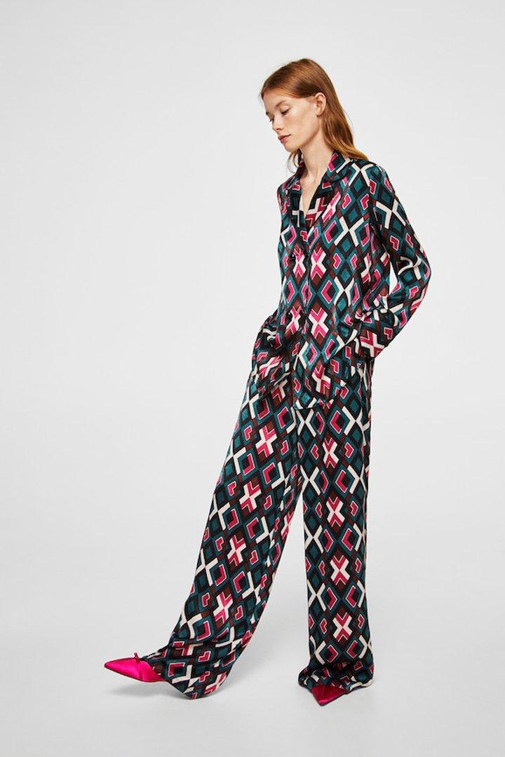 pantalón estampado tiro alto mango ropa
