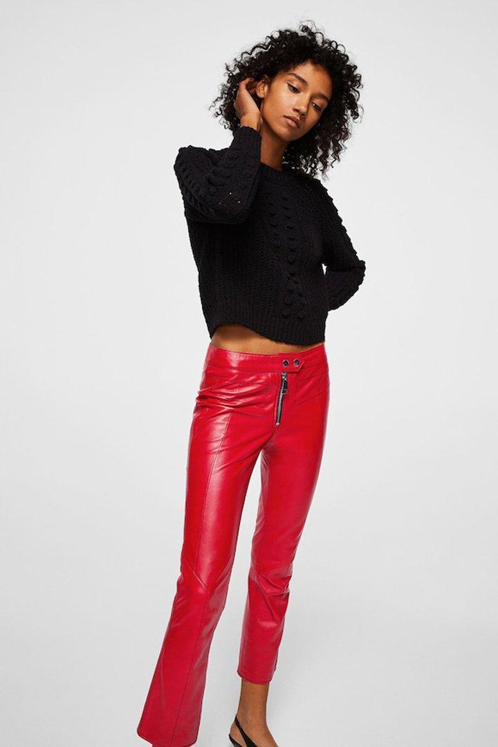 pantalón piel rojo mango ropa