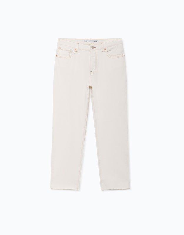Jeans straight fit en color blanco de Lefties