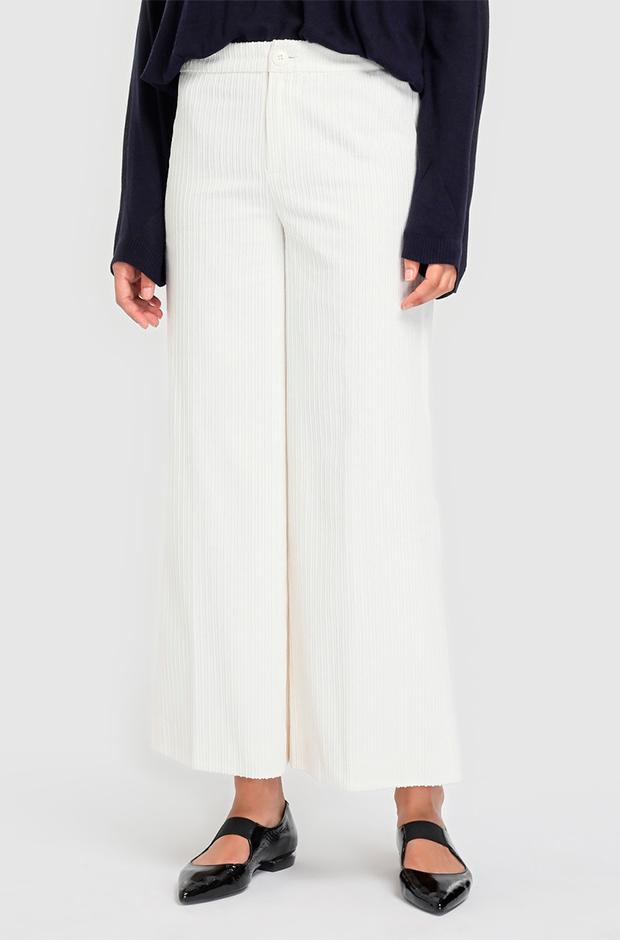 Pantalones culotte blancos de pana
