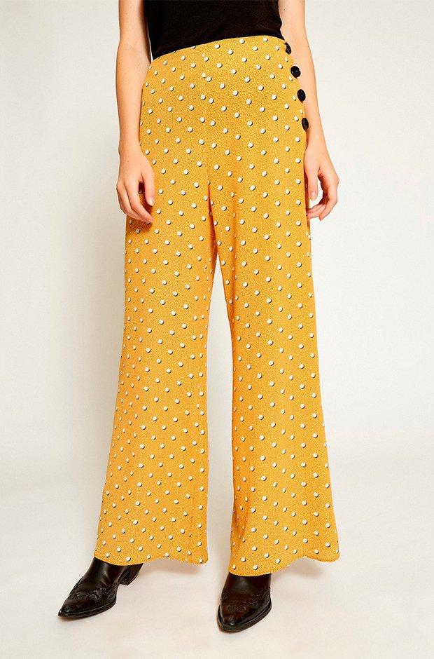 Pantalones de fiesta amarillos con lunares de Poete