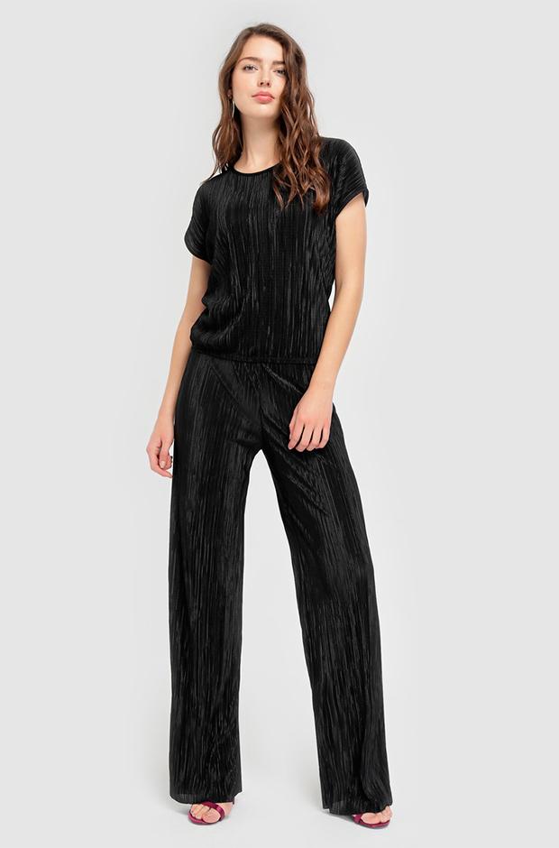 Pantalones de fiesta negros plisados