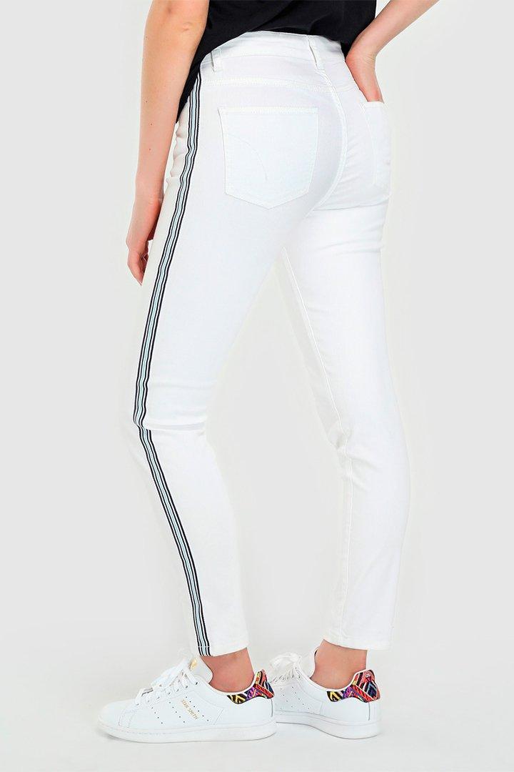 Pantalones vaqueros blancos con banda lateral