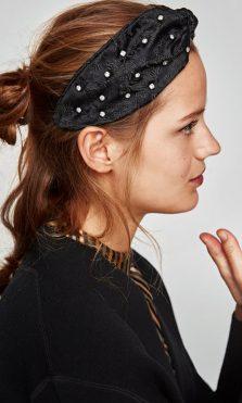 pañuelo para el pelo negro perlas zara