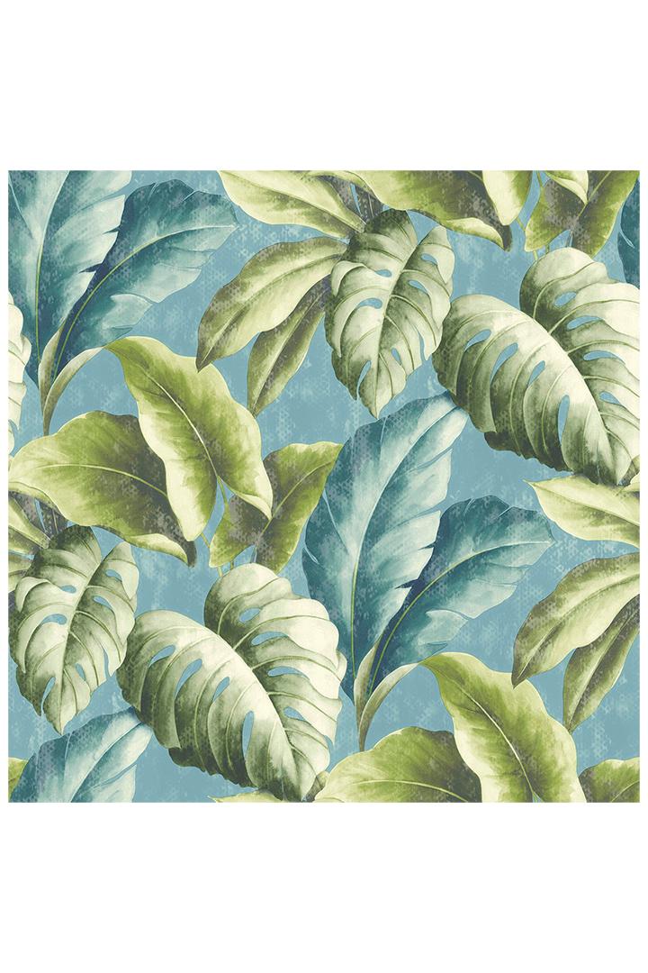 Decoración de primavera con papel pintado de hojas