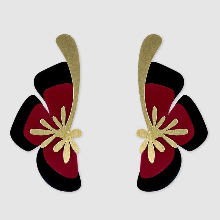 Pendientes Flores Mágicas maxi de plexiglass de Papiroga: complementos look fiesta