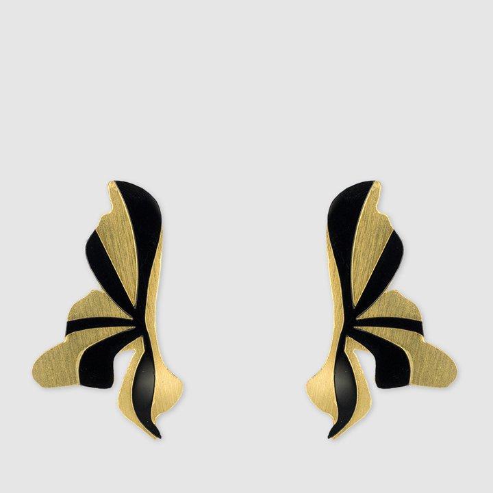 Pendientes largos flores clásicas de plexiglás en dorado y negro de Papiroga: complementos look fiesta